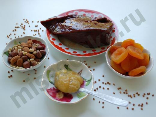 говяжья печень, орехи,мёд,курага и гречневая крупа