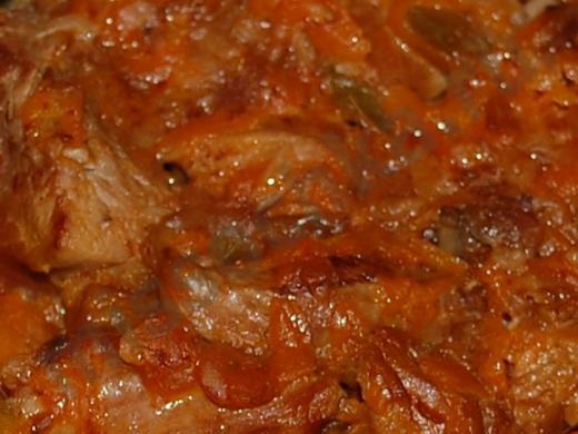 говядина тушёная кусочками с овощами