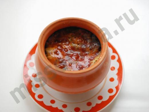 грибной жульен приготовленный в горшочке