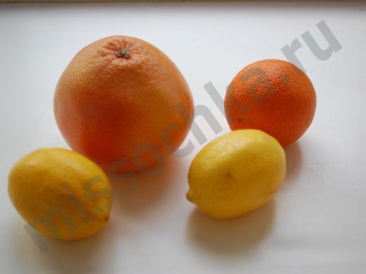 грейпфрут, апельсин, и два лимона