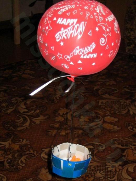 поделка воздушный шар с корзинкой